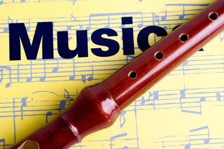 pentagramma musicale: flauto dolce su un notebook di pentagrames Archivio Fotografico