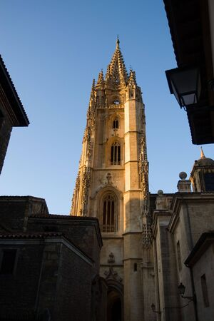 tower of the cathedral of Oviedo in Asturias, Spain. Flowery gothic style. Century XV