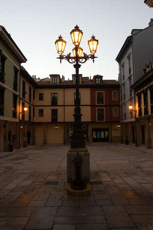 lamppost: lamppost and place of the Font�n, in Oviedo, Asturias, Espa�a.Corral of comedies of century XVIII