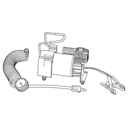 inflating: Portable car air compressor. Car tyre electrical inflator. Illustration car air compressor. Illustration