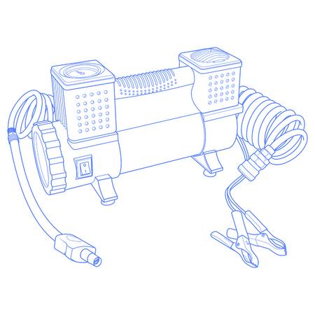 compresor: Port�til de compresor de aire del coche. neum�tico de coche inflador el�ctrico. Drawning coche compresor. La ilustraci�n del compresor de aire del coche. Vectores