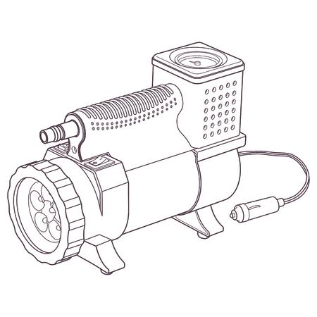 air compressor: Portable car air compressor. Car tyre electrical inflator. Drawning car compressor. Illustration car air compressor. Illustration