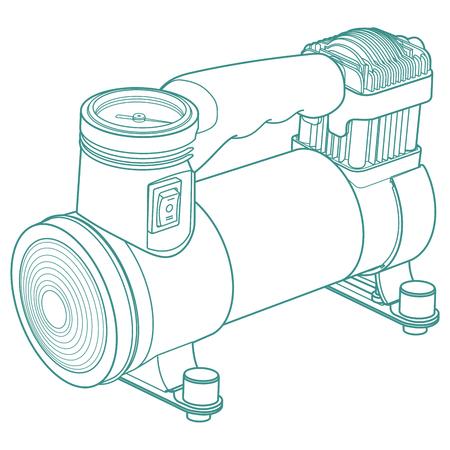 compresor: Portátil de compresor de aire del coche. neumático de coche inflador eléctrico. Drawning coche compresor. La ilustración del compresor de aire del coche. Vectores