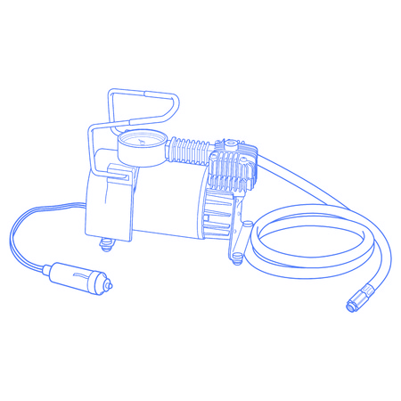 inflating: Portable car air compressor. Car tyre electrical inflator. Drawning car compressor. Illustration car air compressor