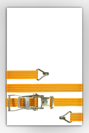 Ratchet truck cargo tie downs enclasp white sheet