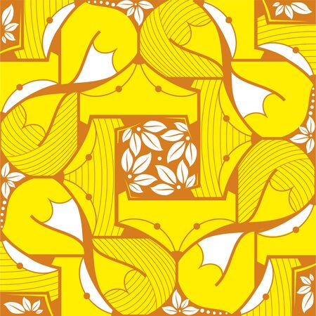 tails: Fox and white tails pattern on a yellow background
