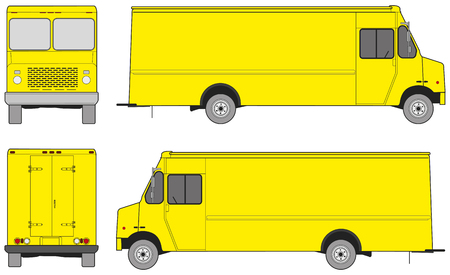 front and back: Step van outlines for design. Four projections: front, back and sides