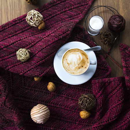meaningful: Handmade gift for special day as mother day, father day, valentine day or wintertime, heap of ball of wool to knit colorful scarf for cold day, knitting to make meaningful present