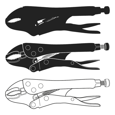 Vector illustration of Curved Jaw Locking Pliers. Locking Pliers Icon. 일러스트