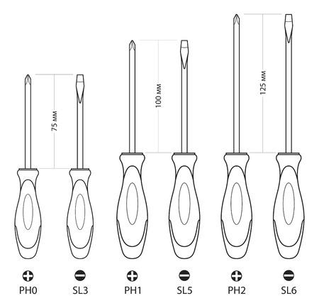 Set of six screwdriver. Vector illustration. Screwdriver icon Vetores