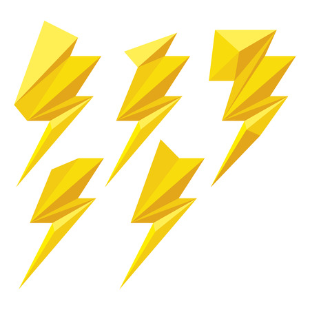 Set of yellow origami lightning bolts. Lightning bolts icons for computing web and app. Illustration