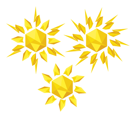 Origami Sun On A White Background Sun Icons For Computing Web