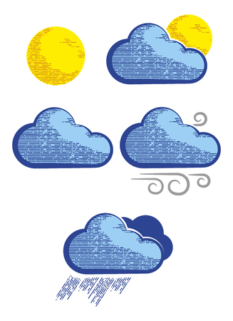 Modern weather icons in engraving style. Weather icons for computing web and app.