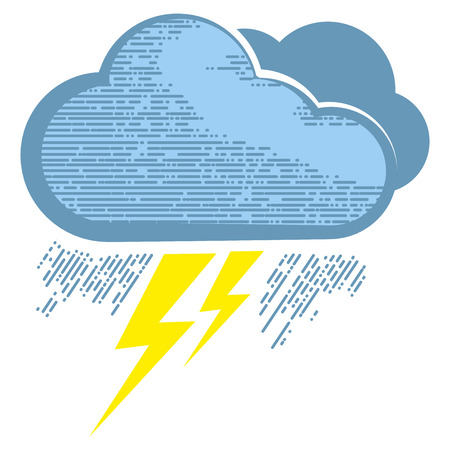 Cloud with lightning bolts in engraving style. Lightning bolts icons for computing web and app. Illustration