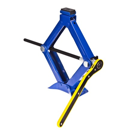 Blue scissor car jack with handle on white background