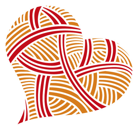 Valentine day doodle hearts with red and orange stripes