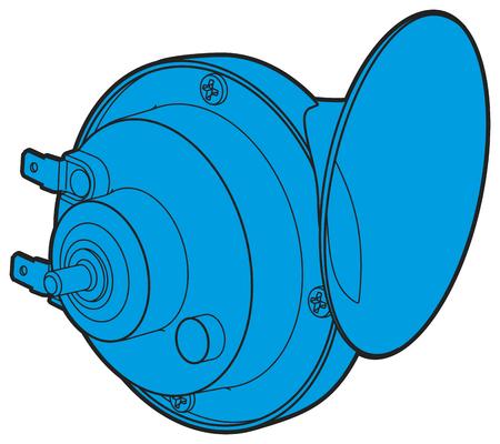 strident: Blue car horn sign rear view. Linear car horn outline icon.