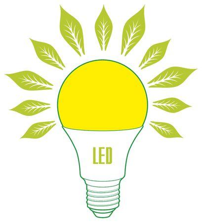 Led lamp ECO energy concept. Eco lamp siign Illustration