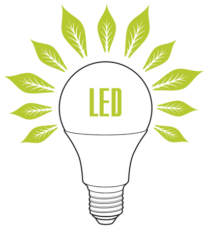 Led lamp ECO energy concept. Eco lamp sign with leaves as rays