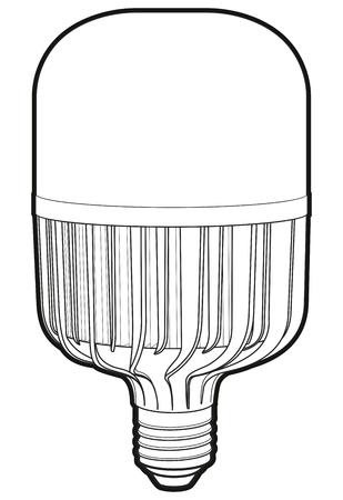 led lamp: Big led lamp. Drawing modern LED lamp. LED lapm sign Illustration