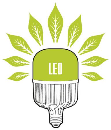 led lamp: ECO energy concept. Big led lamp. Eco lamp sign