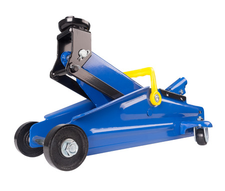 tons: Floor Jack for car lifting capacity of 2 tons. Blue car Floor Jack on white background. Stock Photo
