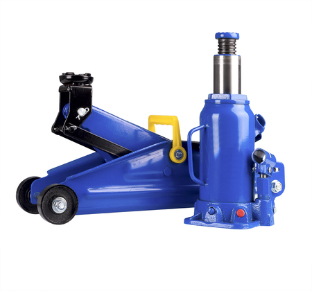 Blue hydraulic floor jack and Hydraulic Bottle Car Jack isolated on white background.