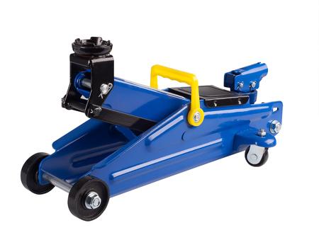Blue hydraulic floor jack on white background Stock Photo