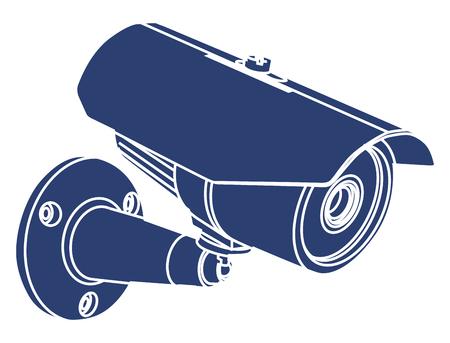 CCTV vigilancia de la cámara de vídeo, icono de la ilustración vectorial de la etiqueta engomada