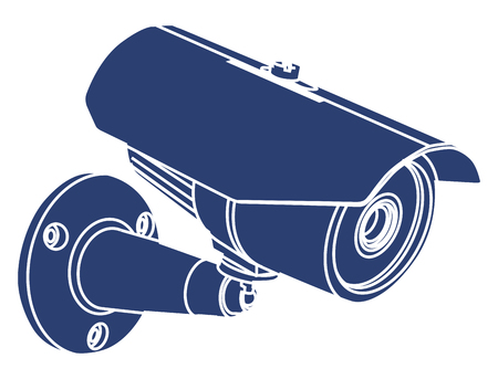 CCTV Video camera surveillance, sticker vector illustration icon Illustration