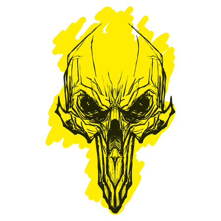 Alien skul for tatoo Illustration