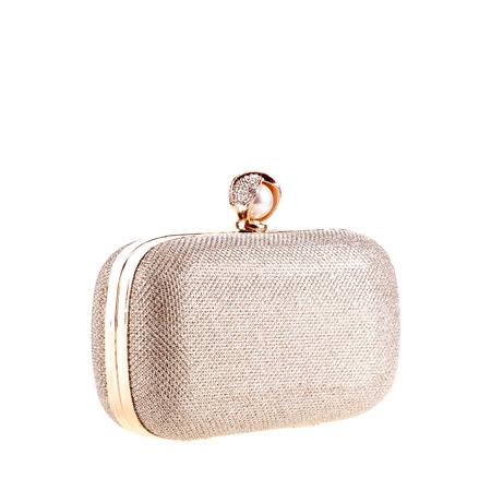 Embrague de bolso metálico dorado Foto de archivo