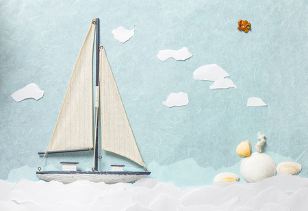 Sailing Yacht on paper background