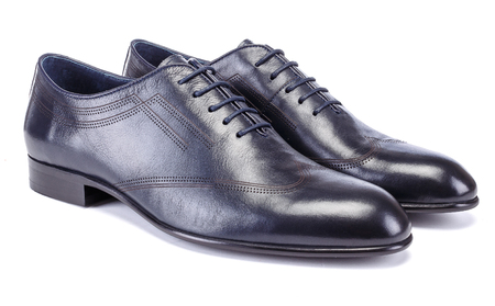 Dark blue leather Mens Oxfords shoes on white