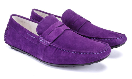 Male lilac shoes loafer type isolated on the white background