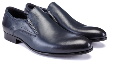 Pair of dark blue colour classical man oxford shoe isolated on white background, laced, classical. Stock Photo