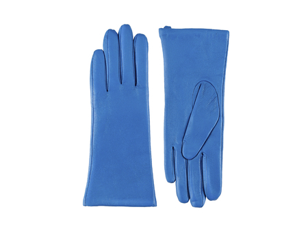 Glamour pair leather azure women's gloves on white background 版權商用圖片