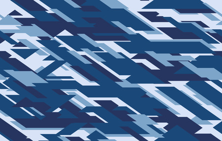 Camouflage seamless pattern. Vector geometric camo background with monochrome blue marine texture.
