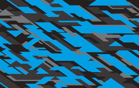 Camuflaje del ejército geométrico moderno, fondo de ropa de camuflaje. Ilustración de vector. Patrón transparente de camuflaje de agua de mar. Vector de camuflaje azul y gris
