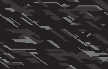 Geometric modern military camo texture style background. Camouflage black, dark gray and cray colours seamless pattern. Vector illustration.