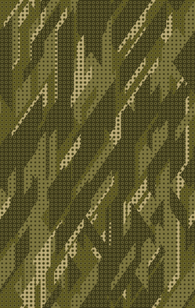 Seamless camouflage pattern. Repeating digital dotted hexagonal camo military texture background. Abstract modern fabric textile ornament. Vector illustration. Ilustrace