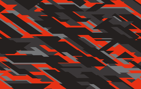 Seamless fashion dark gray and red hunting camo pattern vector. Vector modern military camouflage illustration.