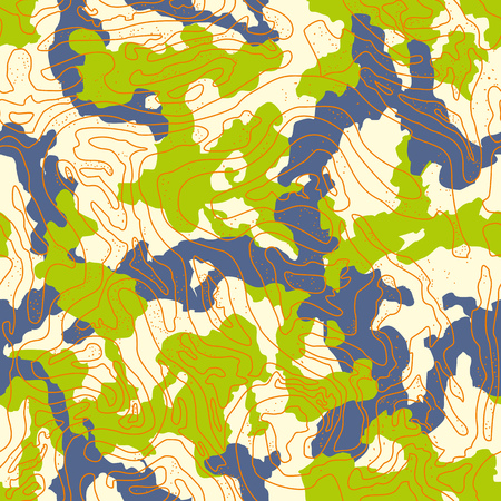 Field camouflage of various shades of green and blue colors. It is a colorful seamless pattern that can be used as a camo print for clothing and background and backdrop or computer wallpaper
