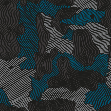 Seamless blue, gray and black hand drawn different striped figure camo textile pattern vector. Sports textile modern seamless pattern wallpaper background