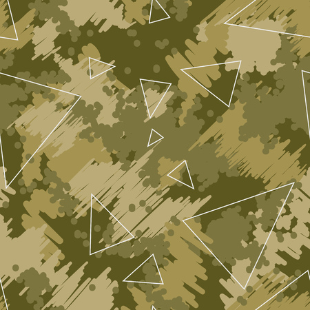 Camouflage seamless pattern background. Modern clothing style masking camo repeat print. Green brown black olive colors forest texture. Design element. Vector illustration. Ilustrace