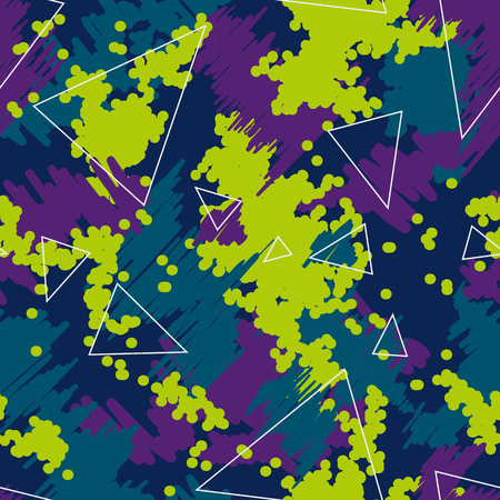 Seamless futuristic fashion green, blue and purple sharp edges camo pattern vector. Camouflage Sport. T-shirt and apparels print graphic vector. Urban Camo