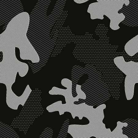 Linear camouflage seamless pattern. Abstract modern geometric digital camo texture endless background. Vector illustration.