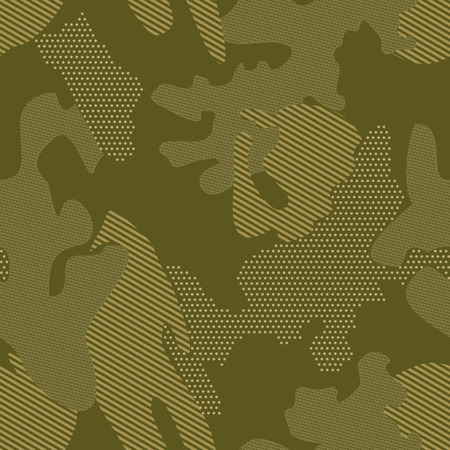 Modern camouflage background seamless pattern with polka dot, stripes. Green shades pattern.