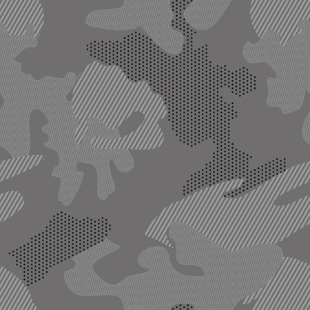 Camouflage background seamless pattern with polka dot, stripes. black and white pattern. dotted background. Vector illustration Ilustrace