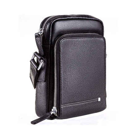 Modern leather black bag for man on white background